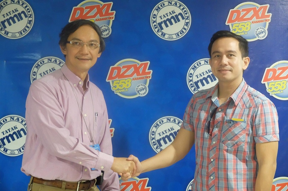 VOTY Founder Pocholo Gonzales with DZXL Manila Station Manager Jenil Demorito