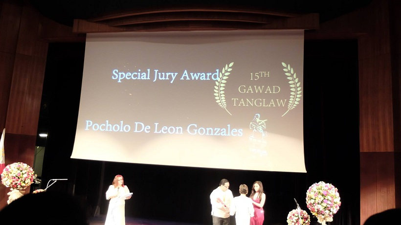 Filipino motivational speaker Pocholo Gonzales receives Special Jury Award at the 15th Gawad Tanglaw Award