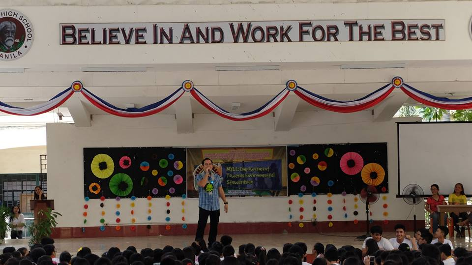 Filipino motivational speaker inspires grade 9 and 10 students towards environmental stewardship