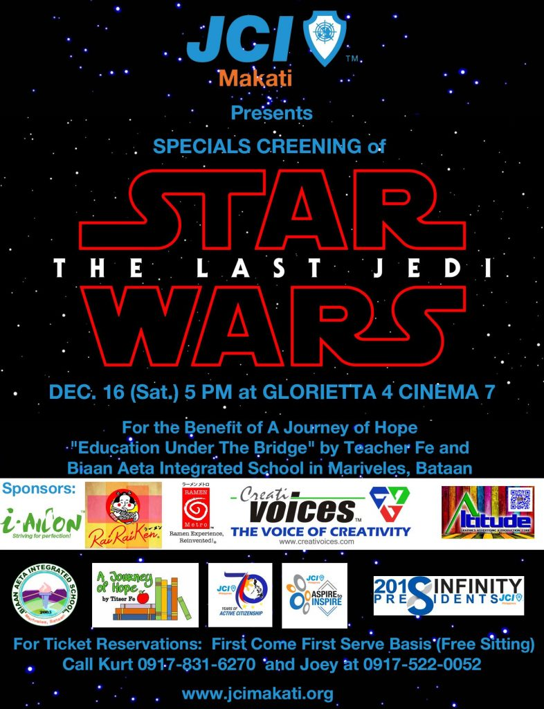 "JCI Makati's special screening of ""Star Wars: The Last Jedi"""