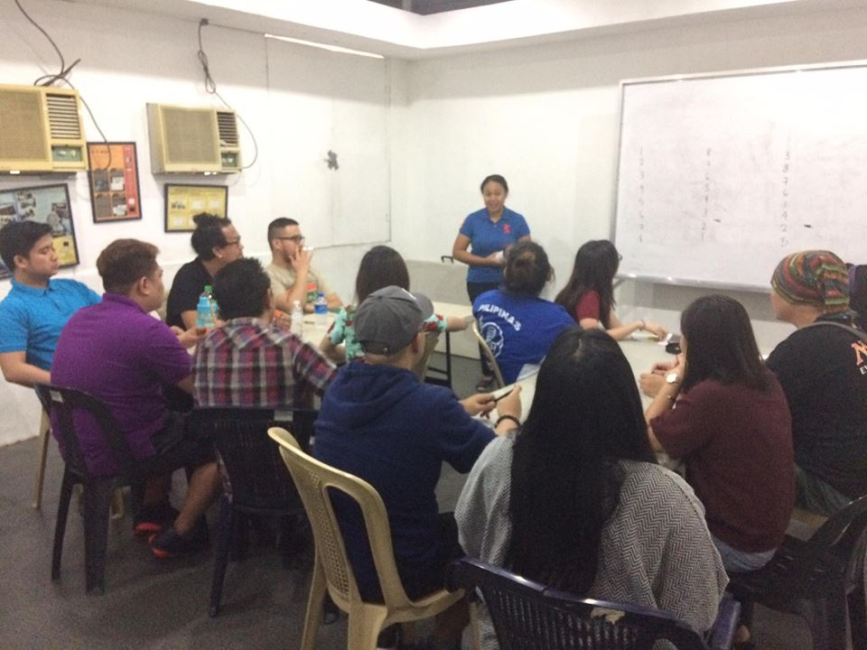 Ada Cuaresma facilitates activity in advanced voice acting workshop