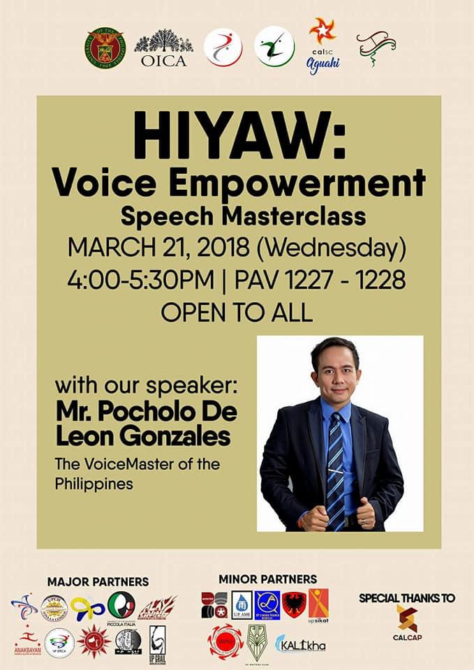 Pocholo Gonzales teaches Voice Empowerment Masterclass for DSCTA Week
