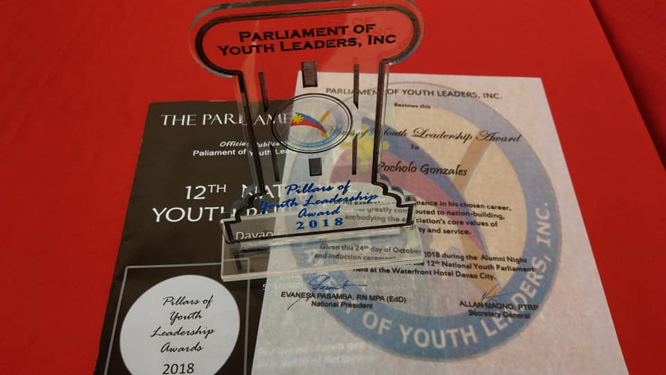 Pillars of Youth Leadership Award 2018 plaque